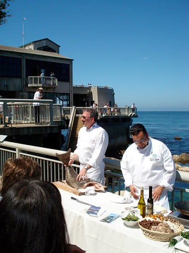 two chefs cooking at Monterey Bay Aquarium