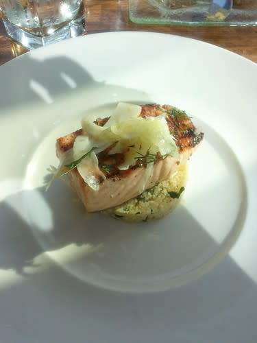 Grilled sustainably farm raised salmon with couscous, shaved fennel and dill-shallot vinaigrette