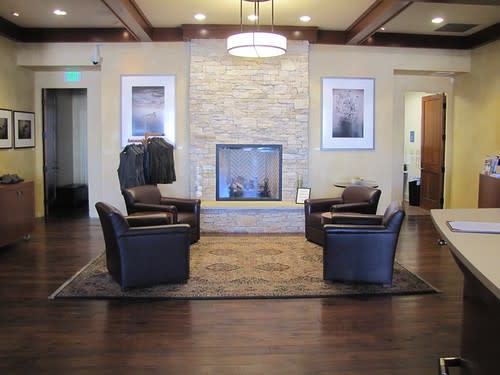 Fireplace seating at Scheid Vineyards Wine Lounge
