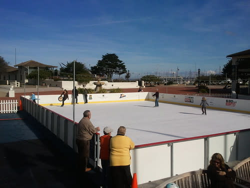Life in Monterey: Ice skating in 60 degree weather with a view of the bay!