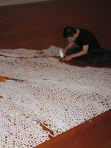 Motoi Yamamota creates salt art at the Monterey Museum of Art