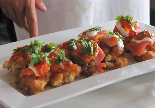 Corn Fritters topped with Salmon