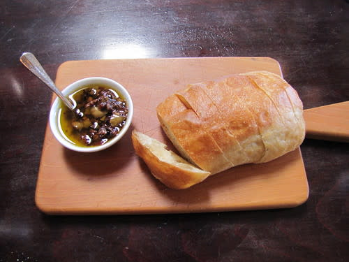 Warm bread and olive spread