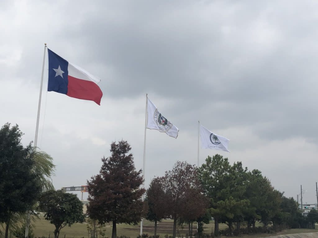 Texas state flag at the Lone Start State Memorial Flag Walk in Conroe