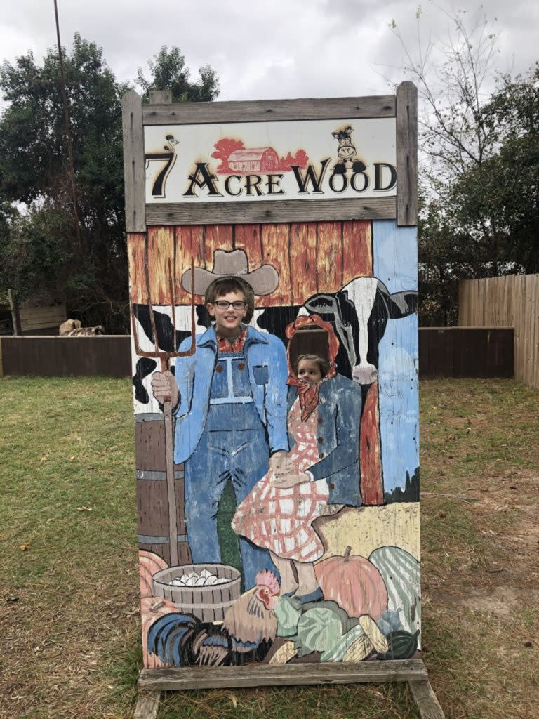 7 Acre Wood boy and sister pose behind wooden sign
