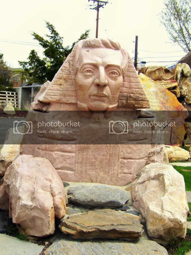 Sphinx at Gilgal Sculpture Garden with the head of Joseph Smith