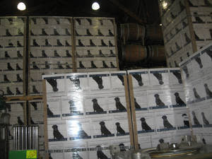 photo - Boxes of wine at Chateau Morrisette near Roanoke, Va. feature Hans, a much loved black lab, featured on a number of wines produced at the family owned winery on the Blue Ridge Parkway. PHOTO BY CHRIS JONES, FOR THE OKLAHOMAN <b></b>