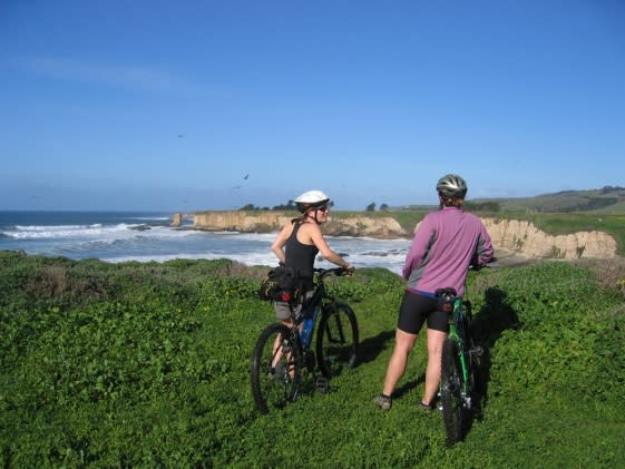 Bikers using recreational trail along Santa Cruz marine terrace. Photo credit: Becky Stamski / NOAA MBNMS