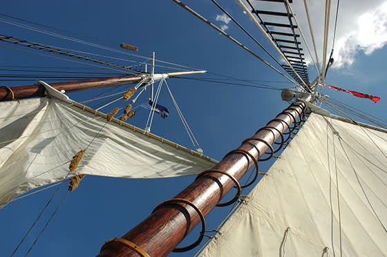 Looking up at the main sails of the Tall Ship Manitou