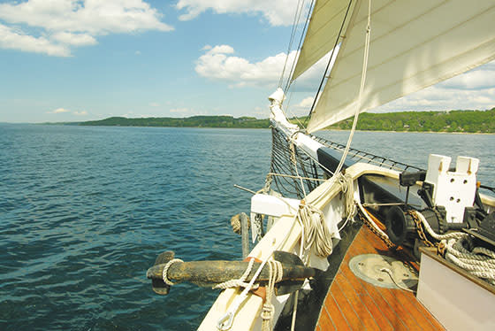 The Tall Ship Manitou out sailing in West Grand Traverse Bay