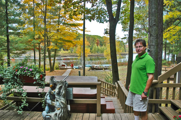 Dave Olsen on the deck at the Lake 'N Pines Lodge on Lake Dubonnet.