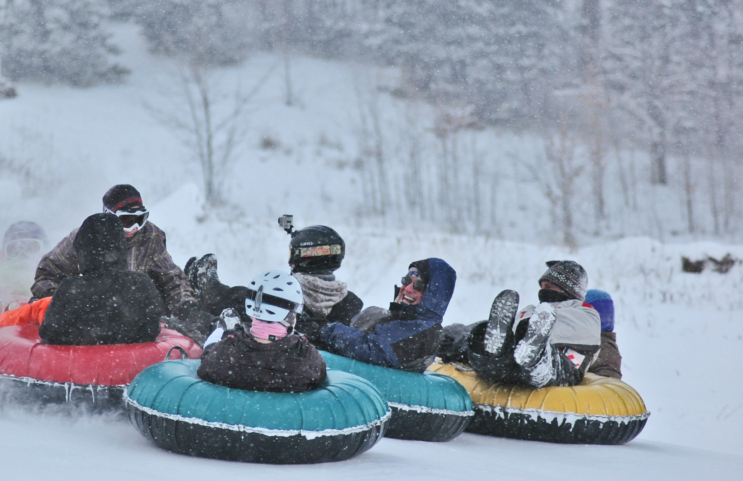 Tubing down in a group at TimberLee Hills.