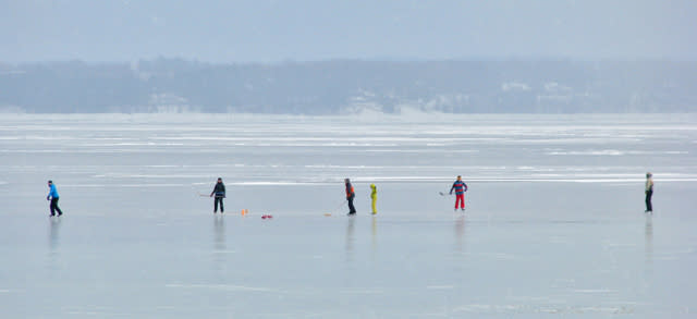 Kids playing pick-up hockey on East Bay.