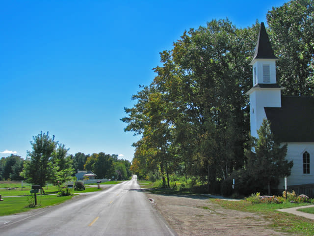 Looking down the road past the Old Mission Congregational Church