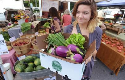 A farmers market in Asheville, NC