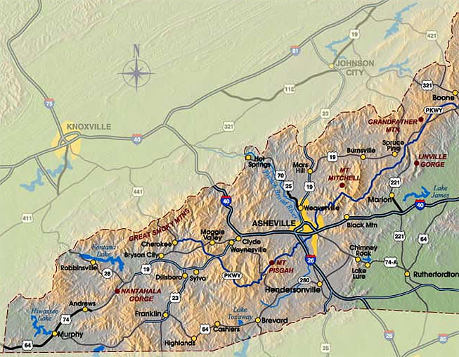 Map of Major Highways in Western North Carolina