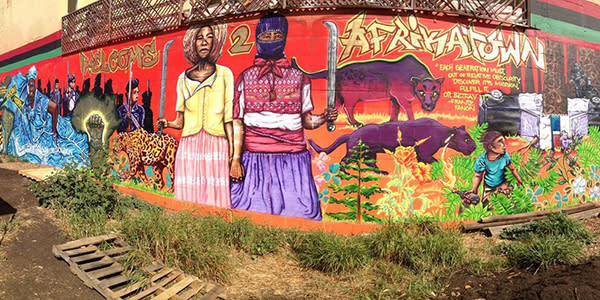 Welcome to Afrikatown mural in Oakland on San Pablo and Grand