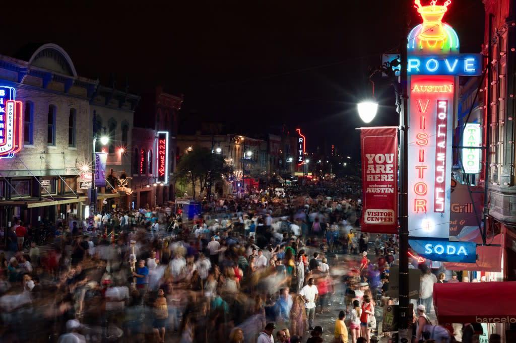 An evening on Sixth Street in Austin, Texas