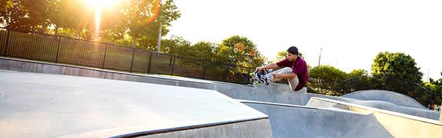A man skateboarding at the Mat Hoffman Action Sports Park in OKC