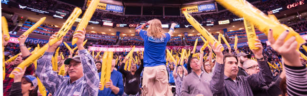 Fans at a Thunder Basketball game