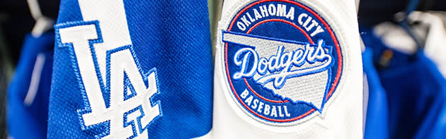 Oklahoma City Dodgers patch on a uniform