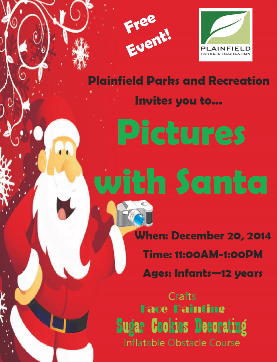 Santa will pose for pictures at the Plainfield Recreation and Aquatic Center on Dec. 20