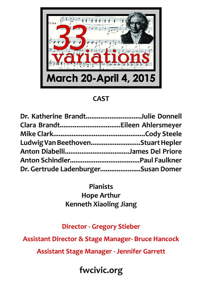 Cast List for Civic Theatre's 33 Variations