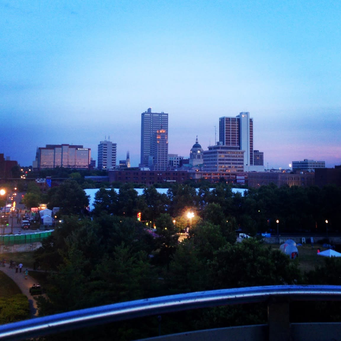 Enjoy a ride on the ferris wheel at Three Rivers Festival, and you'll get a great view of downtown Fort Wayne!
