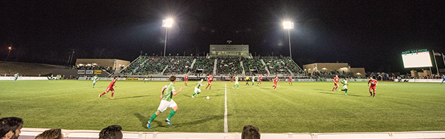 Image of the Oklahoma City FC in action against FC Dallas in a friendly match at Taft Stadium.
