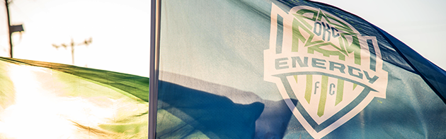 Image of Oklahoma City Energy FC Flag Waving in the Sun