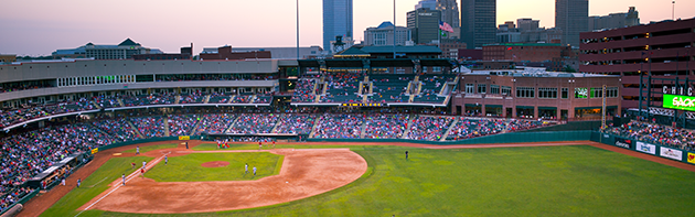Image of Chickasaw Bricktown Ballpark during an Oklahoma City Dodgers Game.