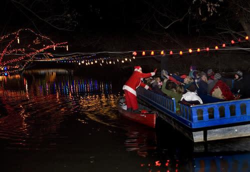 Santa making a visit on the Christmas Cruise