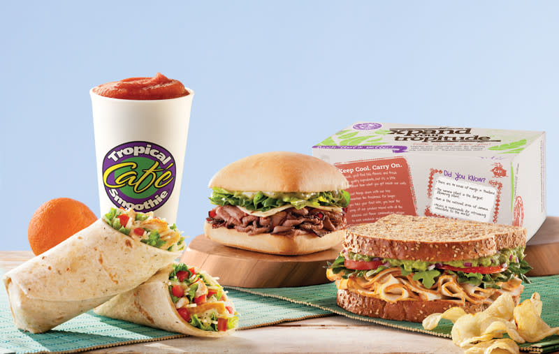 Several items from Tropical Smoothie Cafe including a wrap, sandwich, and smoothie