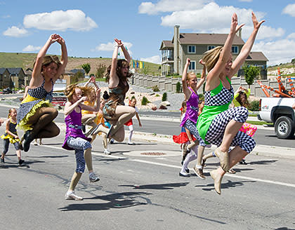 Girls dancing at the Pony Express Days Parade