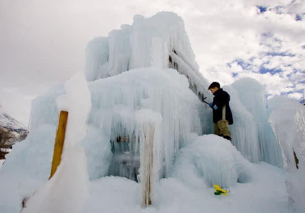 Homemade ice castle in Alpine, Utah