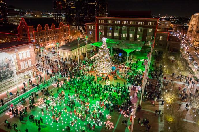 Sundance Square Plaza during Christmas