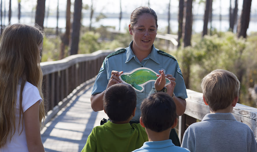 Park Ranger teaching kids