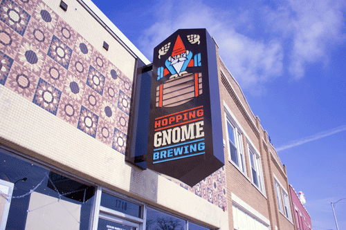 The Hopping Gnome logo not only marks the location of one of Wichita's newest breweries, but it also inspired a video game akin to Super Mario Bro.