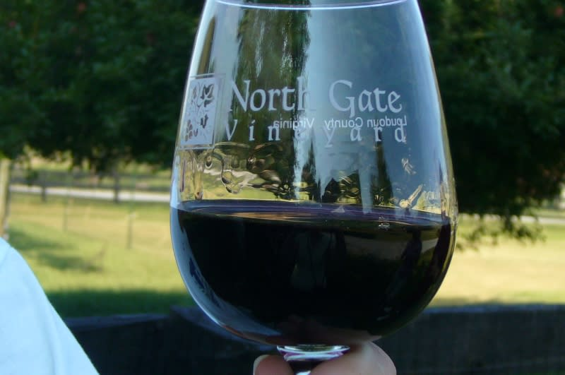 North Gate glass with wine
