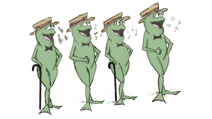 A quartet of anamatronic bullfrogs, Herman's Kermits