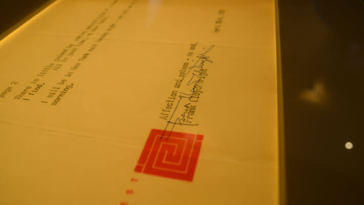 This letter signed by Frank Lloyd Wright is on display at Beth Sholom Synagogue.