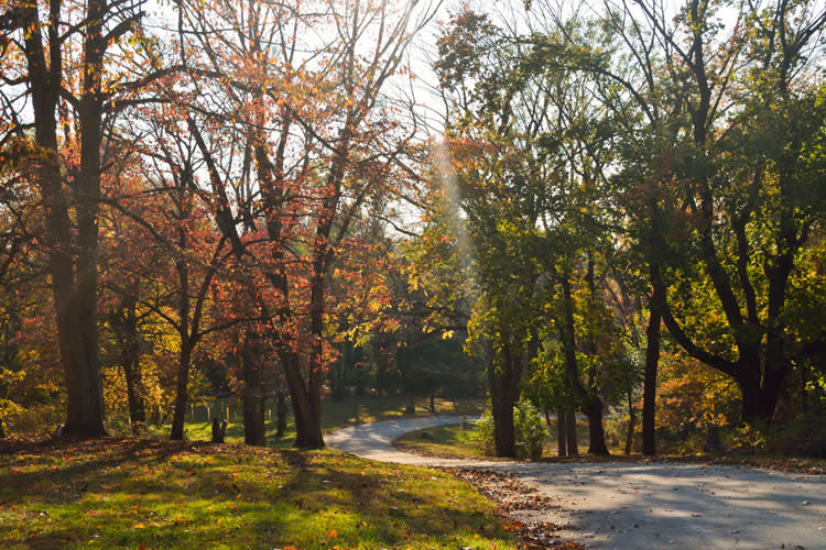 Fort Washington State Park offers spectacular views of the fall foliage