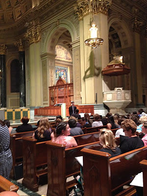 The choir rehearses at the Cathedral Basilica of Saints Peter & Paul.