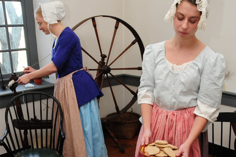 Distaff Day at Pottsgrove Manor features traditional spinning demonstrations.