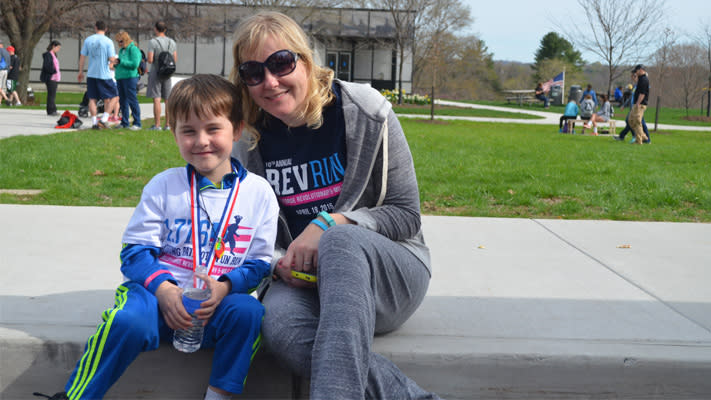 Mason with Mom after the 2015 race.