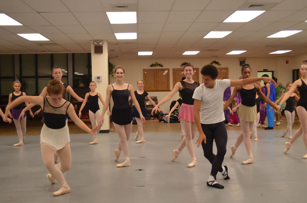 Juan Castellanos (front right) dreams of becoming a professional dancer