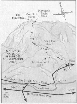 Map of Mount Si and Hiking Trails