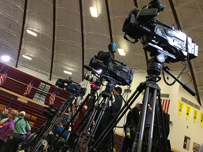 Cameras for Hillary Clinton event in Des Moines
