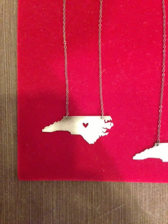 N.C. map necklace by Vespertine