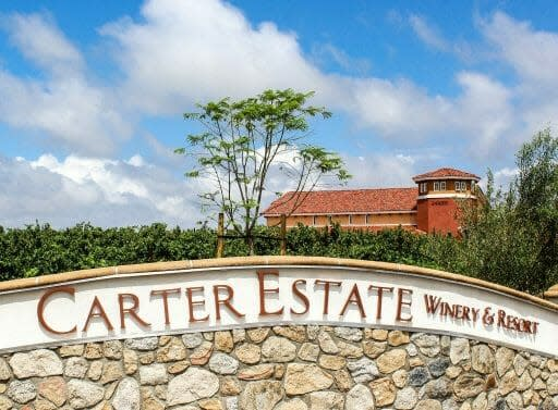 Entrance sign of Carter Estate Winery Temecula